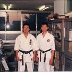 梁伯偉師傅與日大鶴ケ丘高中空手道部日下修次師範合照 Sensei Patrick P. W. Leung, with Sensei Shuji Kusaka , at the Karatedo Squad of Tsurugaoka High School, Nihon University