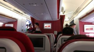 Newer plane on HX, red decor
