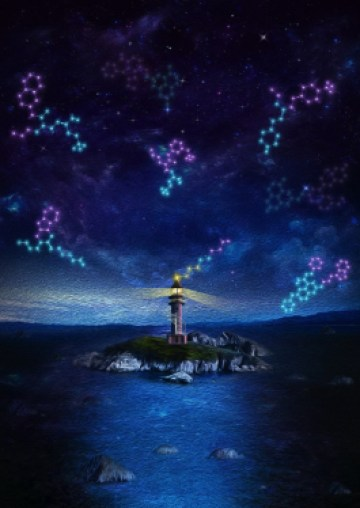 Artistic representation of the work: cell membrane is like a vast, complex, and unpredictable ocean. The membrane proteins are the rocks and islands in the ocean. Labelling the membrane protein target with a DNA tag is like having a lighthouse on the target protein to direct the specific screening of DNA-encoded chemical libraries for drug discovery.