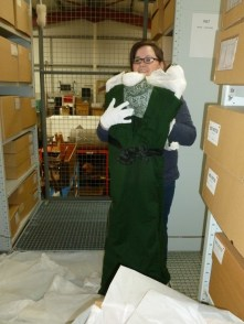 Emma with her located object - a woollen green dress c.1880s