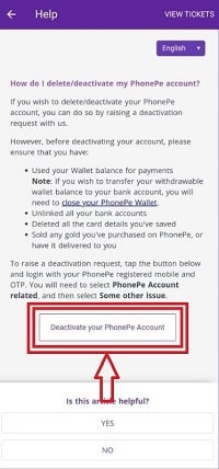 Delete my phonepe account