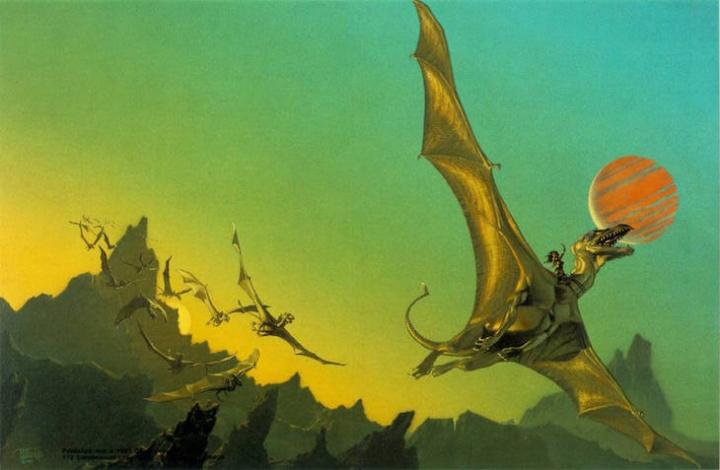 A painting shows Lessa riding her dragon.