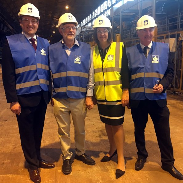 Ged Killen, Jeremy Corbyn, Kezia Dugdale and James Kelly visit Liberty Steel