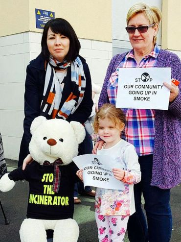Monica campaigning against the Whitehill incinerator