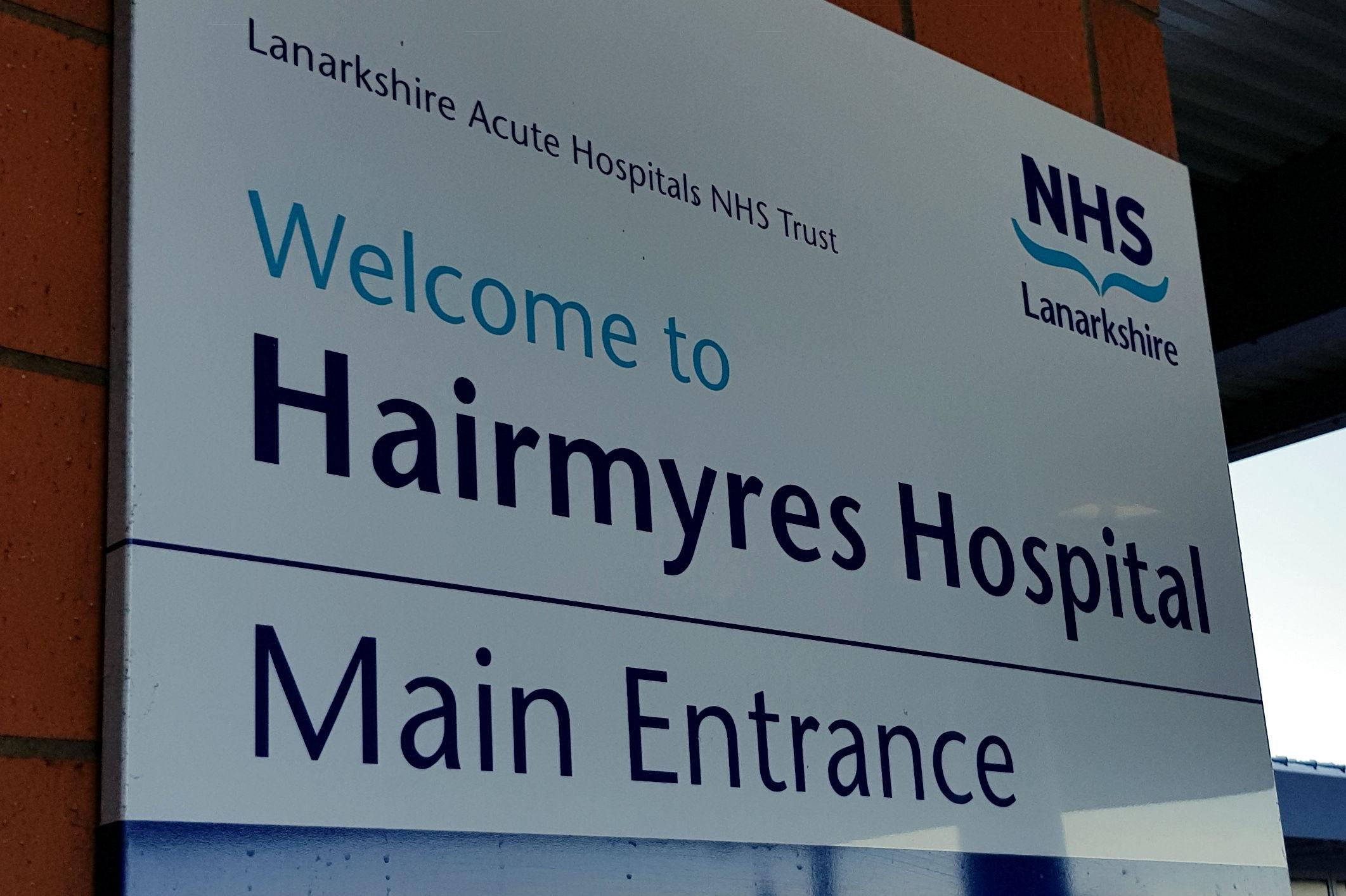 Hairmyres Hospital sign