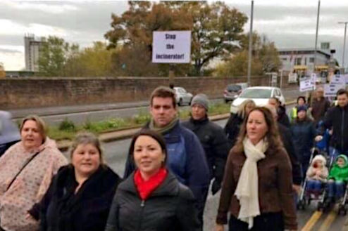 Monica Lennon and protesters against the Whitehill incinerator