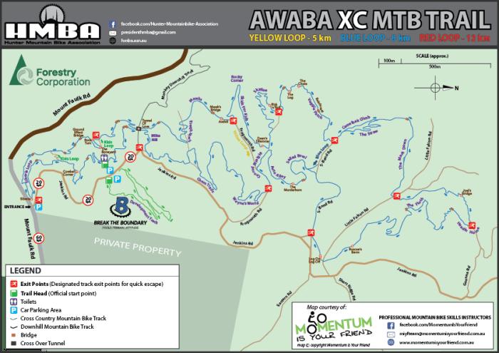 HMBA Awaba MTB Park Trail Map