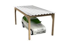 Carports van hout en aluminium voor een of meer autos en zelfs caravans