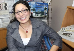 California State Assembly Member Cristina Garcia in a visit to Los Cerritos Community Newspaper in 2012.  Randy Economy Photo