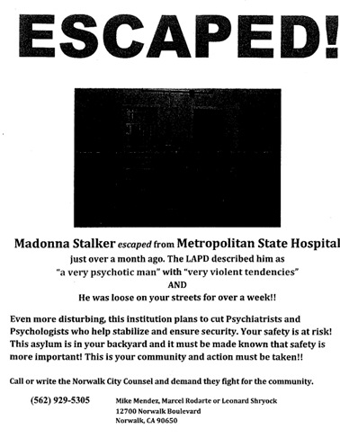Flyer warning Norwalk residents about Madonna stalker raises concerns, motives