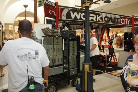 """Caption: Part of the Los Cerritos Center was transformed into a South Florida shopping complex last week for the filming of an episode of the popular Showtime series """"Dexter."""" Randy Economy Photo"""