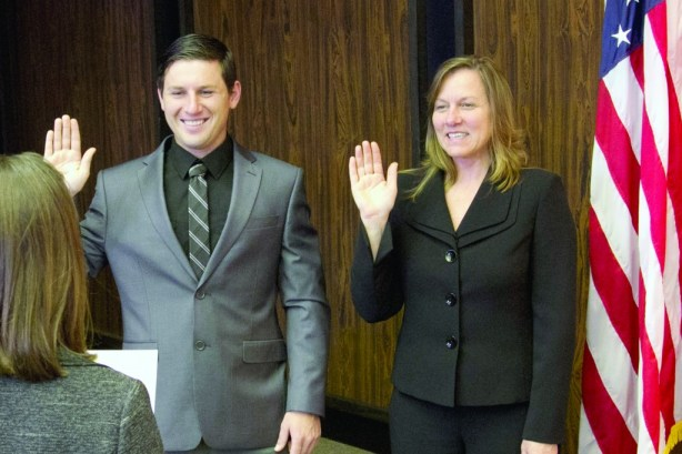 La Mirada City Council Members Andrew Sargea and Pauline Deal.