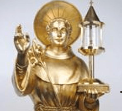 St. Antony's bust holding glass encasement. Inside the glass are two layers of St. Anthony's cheek.