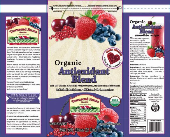 This handout image provided by the Food and Drug Administration (FDA) shows the label of Townsend Farms of Fairview, Ore., Organic Antioxidant Blend, packaged under the Townsend Farms label at Costco and under the Harris Teeter brand at those stores. The Oregon company is recalling a frozen berry mix sold to Costco and Harris Teeter stores after the product was linked to at least 34 hepatitis A illnesses in five states. (AP/FDA) Photo: AP