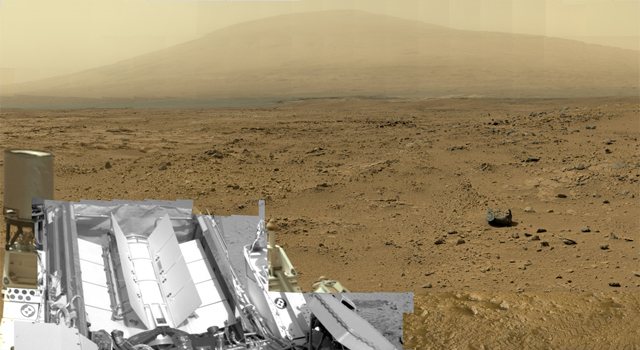 "This is a reduced version of panorama from NASA's Mars rover Curiosity with 1.3 billion pixels in the full-resolution version. It shows Curiosity at the ""Rocknest"" site where the rover scooped up samples of windblown dust and sand. Curiosity used three cameras to take the component images on several different days between Oct. 5 and Nov. 16, 2012. Viewers can explore this image with pan and zoom controls at http://mars.nasa.gov/bp1/. Image credit: NASA/JPL-Caltech/MSSS"