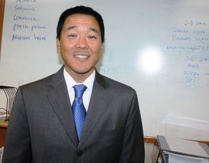 Paul Tanaka, candidate for Los Angeles County Sheriff during his visit and interview this week at Hews Media Group-Community Newspaper office in Cerritos.