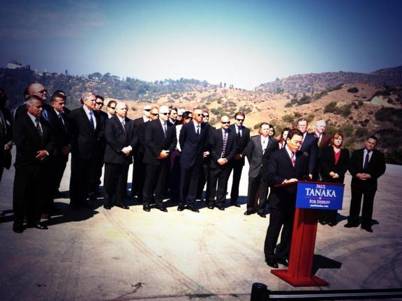 Paul Tanaka makes his campaign announcement for LA County Sheriff on Thursday. Photo from the Tanaka campaign.