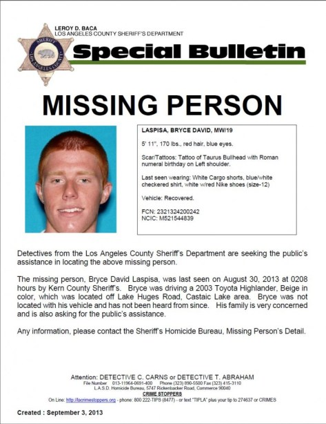 Bryce Laspisa: Search Begins for Missing Orange County