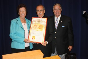 "Sister Catherine Casey, Reverend Anthony (Tony) Gomez and Los Angeles County Supervisor Don Knabe at this week's meeting held at the Kenneth Hahn Board of Supervisors Hearing Room.  St. Linus Catholic School was officially honored with a Resolution Scroll in honor of their 50th Anniversary and ""outstanding contribution to the community.""  Randy Economy Photo"
