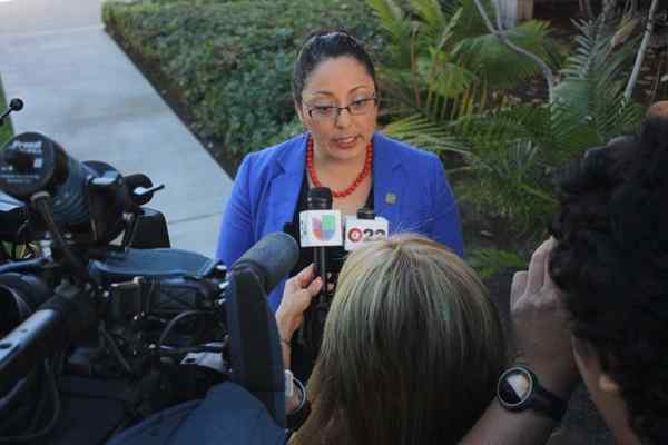 Assemblywoman Cristina Garcia addresses media members at Bell Gardens City Hall.