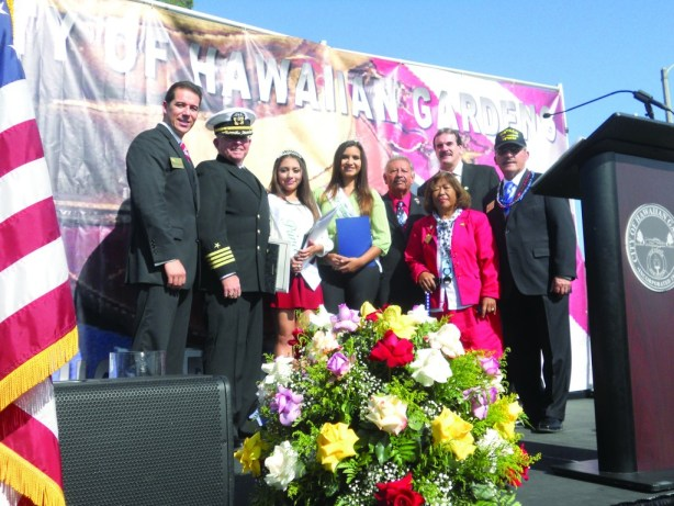Hawaiian Gardens celebrated Veteran's Day this past week with a special ceremony with Mayor Victor Farfan, Capt. Donald McMackin, Princess Monica Vargas, Miss HG Adilene Rios, Council Members Barry Bruce, Rey Rodriguez, Mike Gomez and Michi Oyama-Canada.