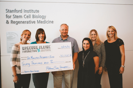 The McKenna Claire Foundation presents a generous donation to Dr. Monje of the Stanford Medical Institute so Dr. Monje and her researchers can continue their studies of McKenna's tumor and progress towards finding a cure for pediatric brain cancer.
