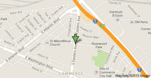 Location of the shooting death in Commerce.