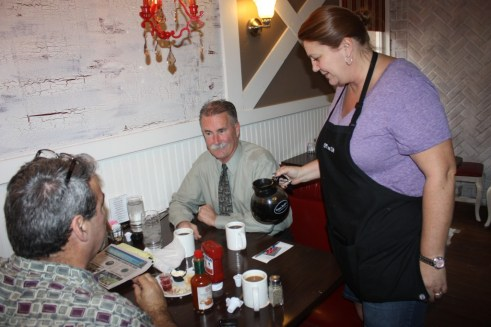 Bob Olmsted, a candidate for Los Angeles County Sheriff visits Off Street Café in Cerritos to talk openly with Hews Media Group-Community Newspaper about his the campaign against incumbent Lee Baca.  Joining Olmstead for breakfast was Brian Hews, Publisher of HMG-CN.   Randy Economy Photo