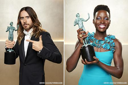 Jared Leto and Lupita Nyong'o walk away with SAG Awards on Saturday night.