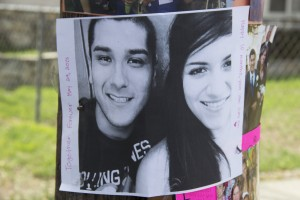 A photo of Giovanni Chaidez and Rosibel Montoya is posted at the location where the couple lost their lives tragically along Rosecrans Avenue in Norwalk this past weekend.  Pete Parker Photo