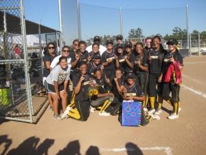 Cerritos High School Girls Softball Team celebrates league title.  Courtesy of CHS Softball Team Parent