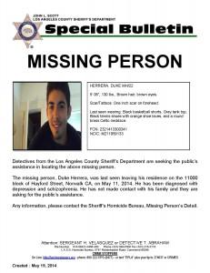 Missing person alert issued for Norwalk resident Duke Herrera, age 22.