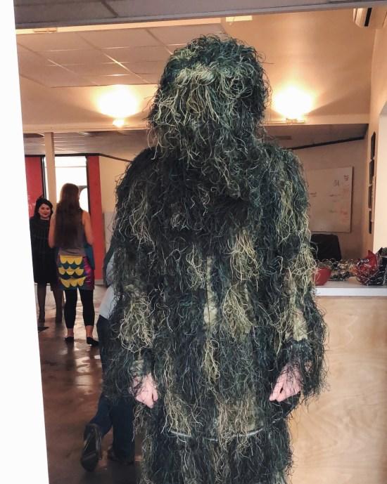 James in tree costume