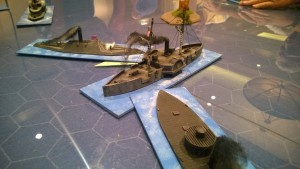 Two Ironclads give opposing opinions to this unfortunate double-ender in Bob Moon's Smoke on the Water game.