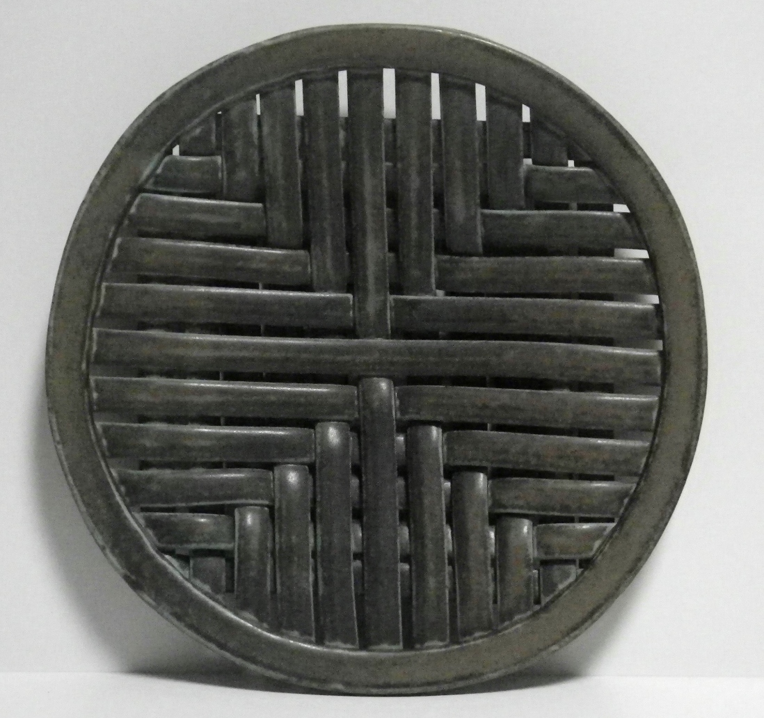 square weave platter with foot