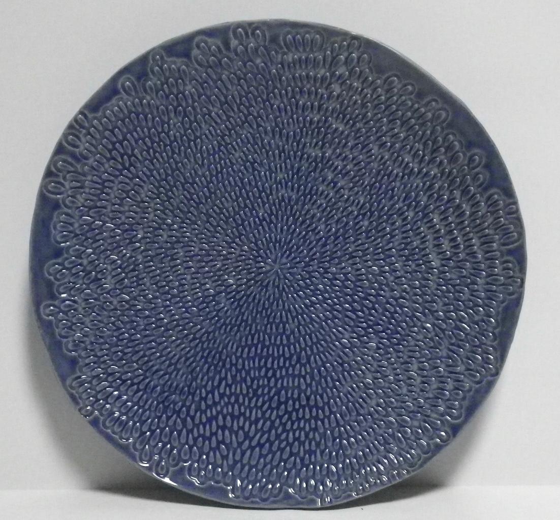 blue textured platter