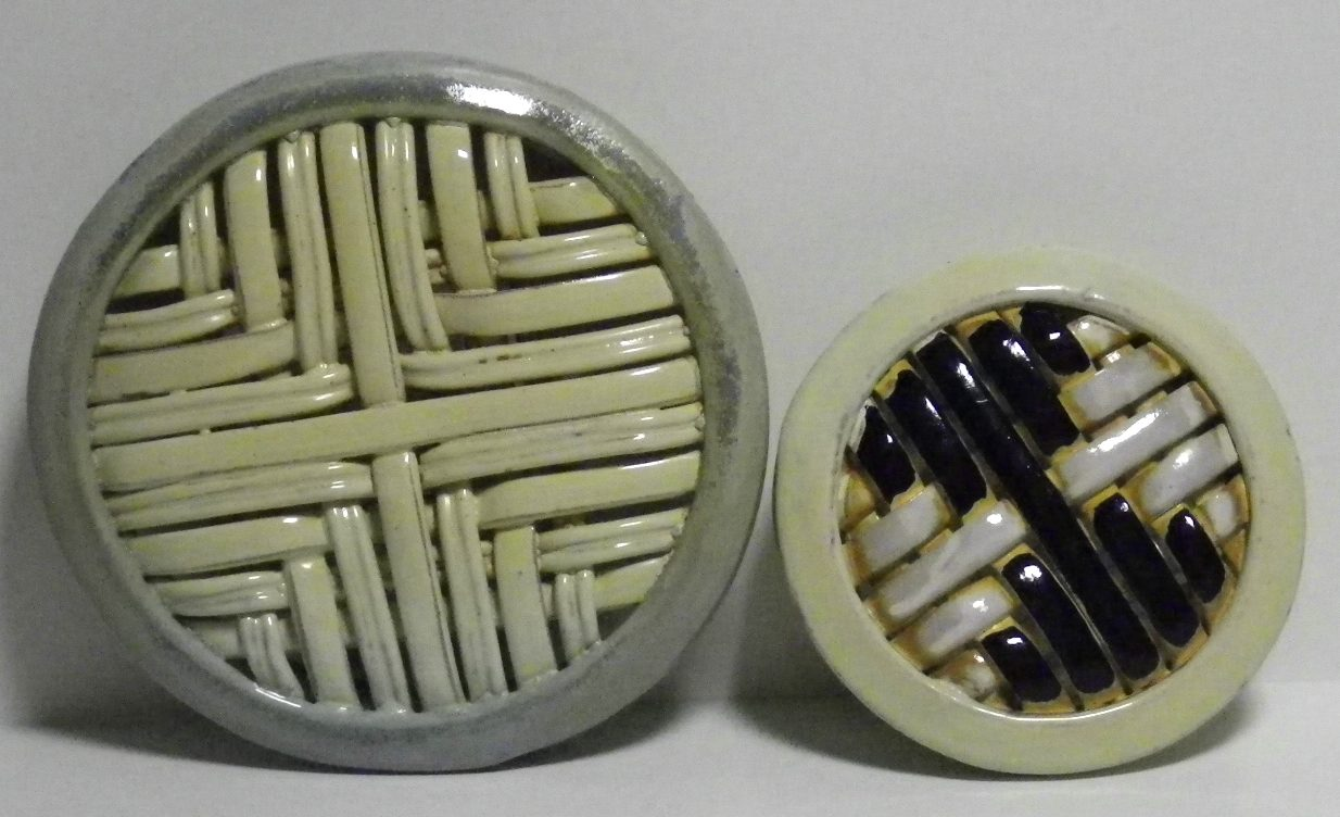 square weave wall pieces, soda-fired