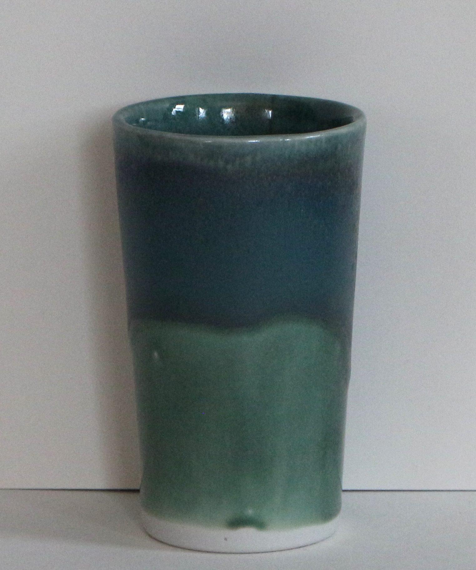 green and blue 14 oz. porcelain tumbler