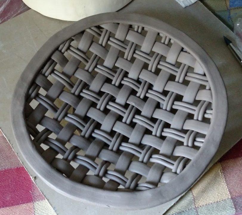 plain weave platter, unfired