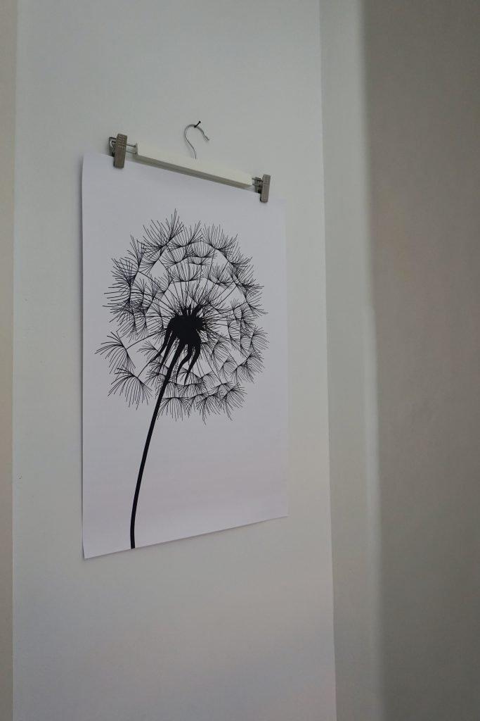 Paardenbloem-poster-onlineposterkopen.nl-muurdecoratie-kapstok-DIY