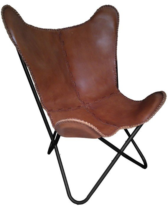 vlinderstoel, BFK chair, Mariposa chair, zwart onderstel, stalen frame, leer, cognac leer, leren zitting