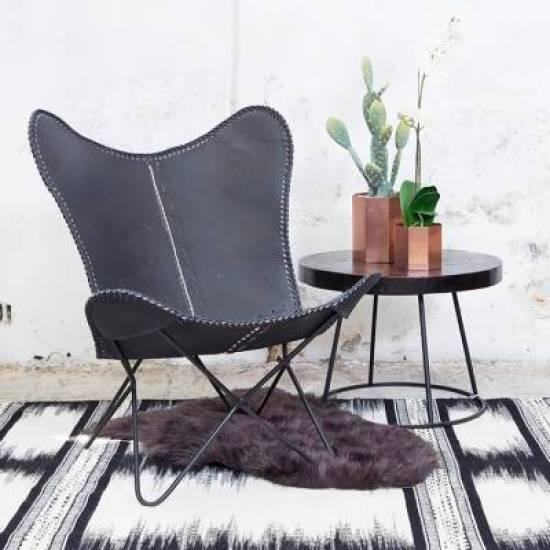 vlinderstoel, BFK chair, Mariposa chair, zwart onderstel, stalen frame, zwart, zwart leer