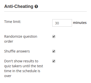 Anti-cheating protection features in the online test creator software HmmQuiz