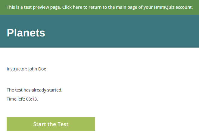 Test preview interface in the online exam creator HmmQuiz