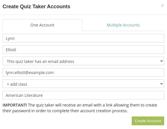 Make a quiz taker's account for yourself to take your own test