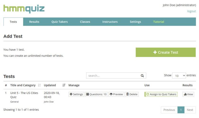 Online test creator for teachers HmmQuiz