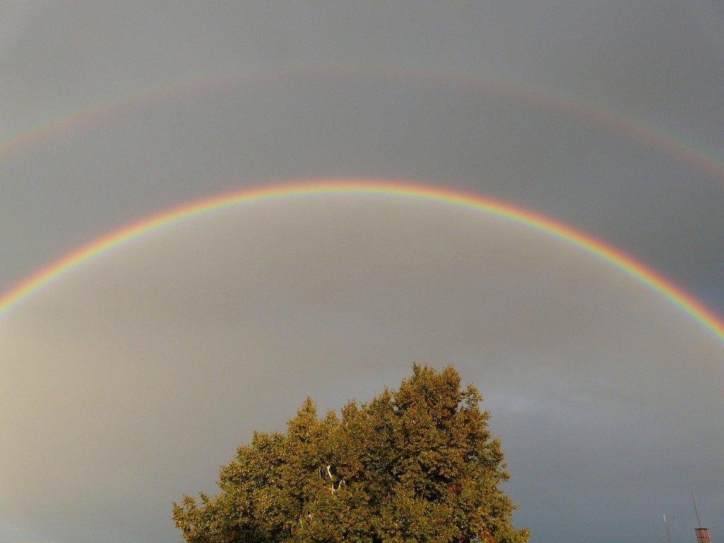 double rainbow, rainbow, mirroring