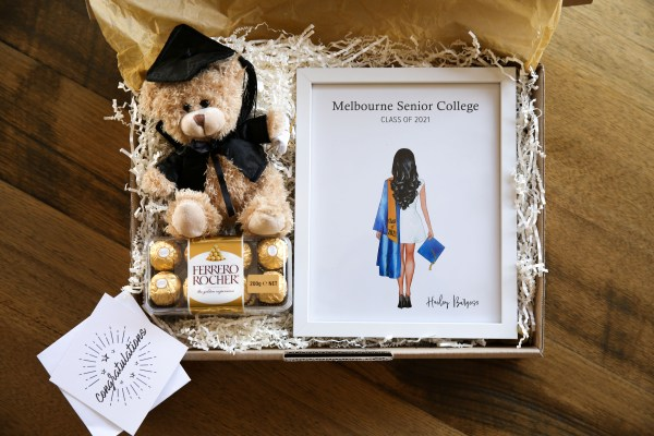 Lockdown graduation pack, includes personalised illustration, graduation teddy bear, Ferrero Rocher chocolate box of 16, and congratulations card with your very own message for the graduating student
