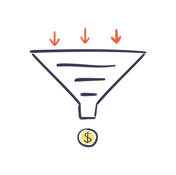 Conversion Optimization - vector illustration. Internet marketing concept with Sales Funnel and growth chart.