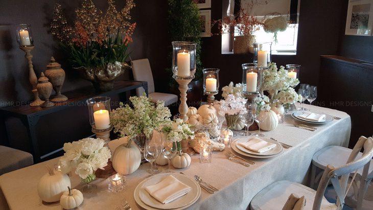 all white thanksgiving table decor
